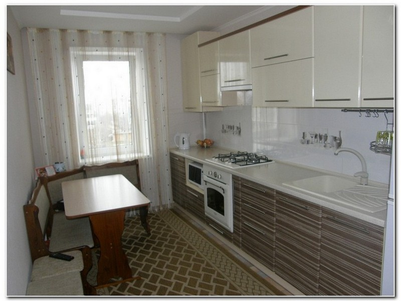 Дизайн кухни прямоугольной формы фото