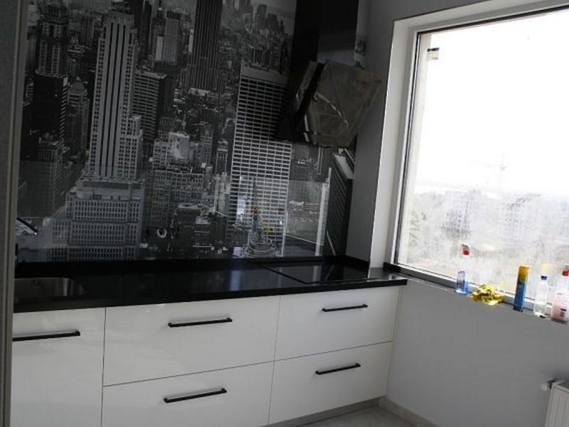 столешница в черно белой кухни