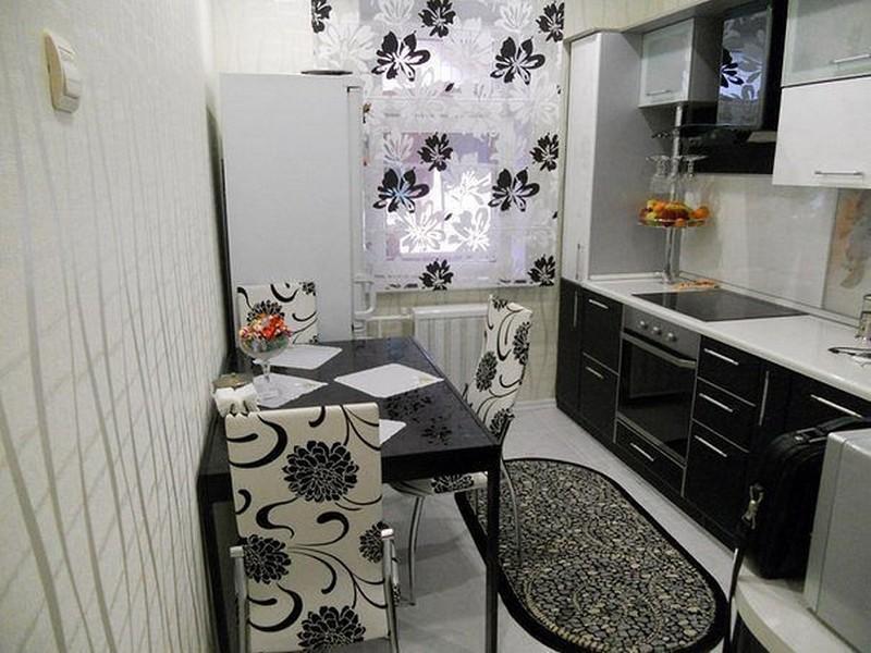 шторы в черно белую кухню