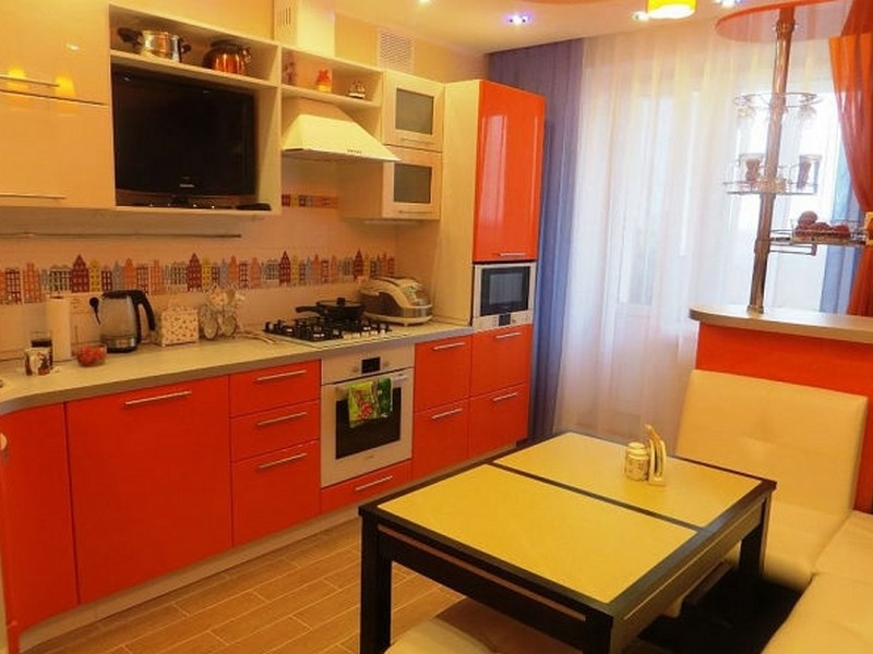 Дизайн оранжевых кухонь с фотопечатью
