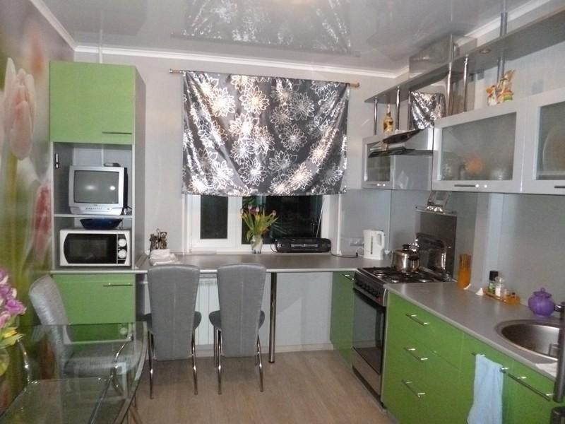 кухня серо-зеленая фото