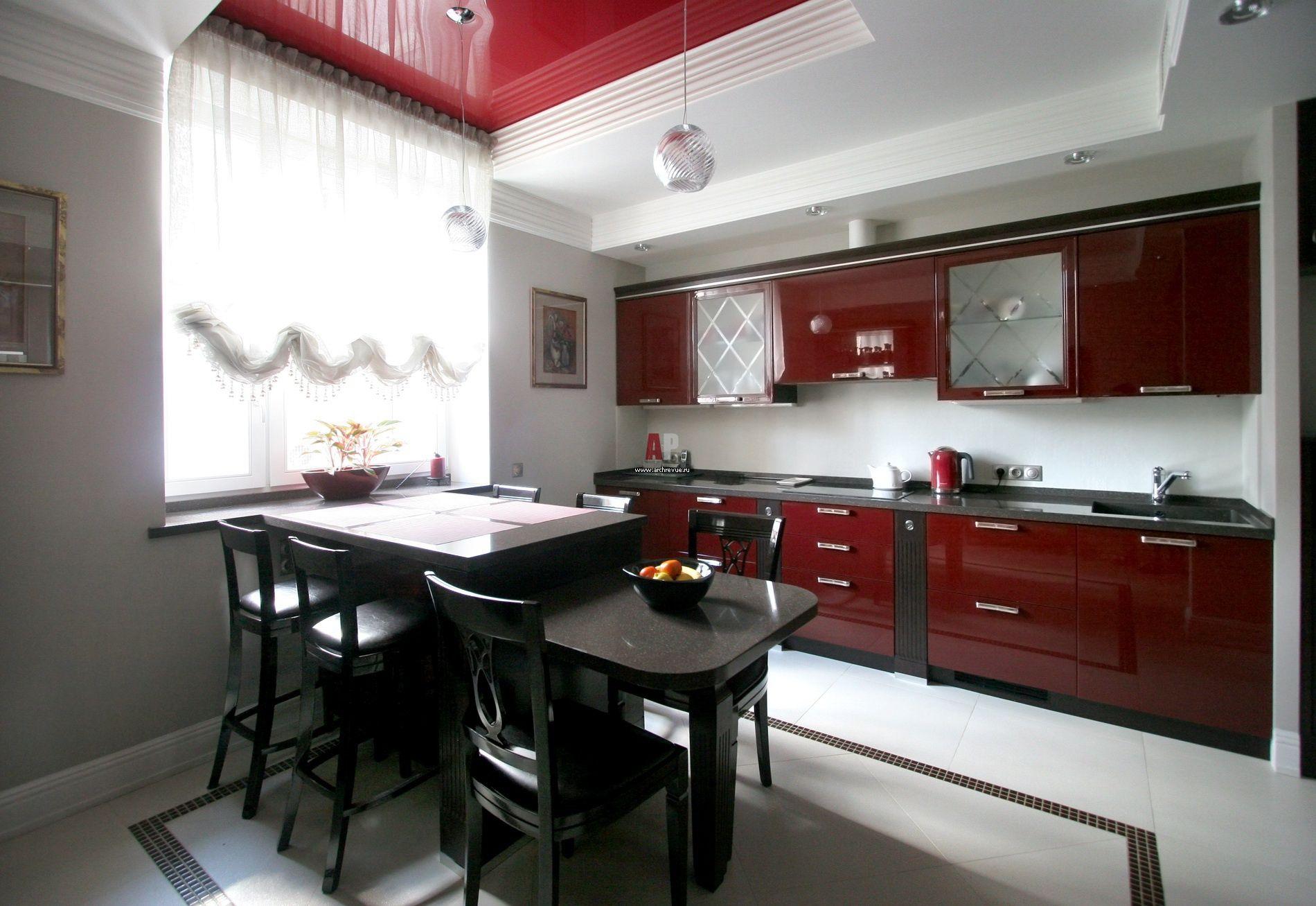 дизайн кухни бело бордового цвета фото самых