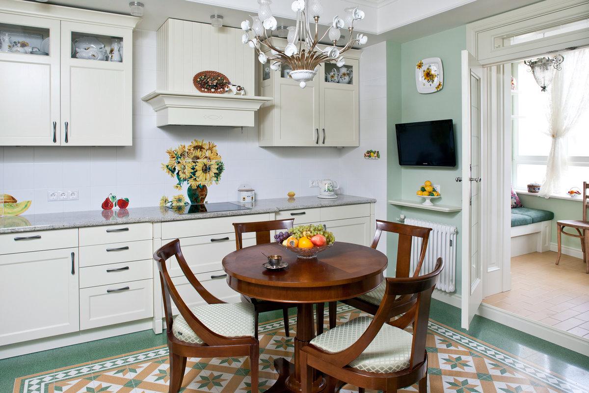 Круглый стол на кухню классический акцент в современном интерьере