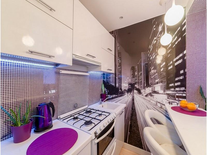 Фотообои в интерьере кухни: реальные фото примеры
