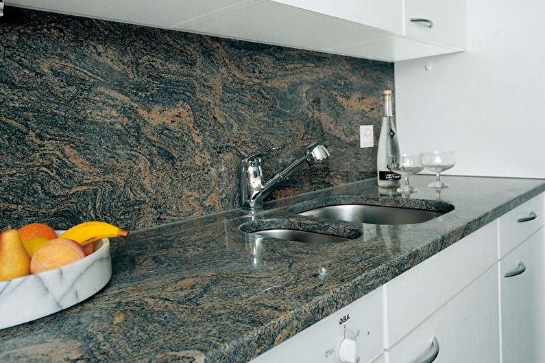 Фартук для кухни из камня: разница между искусственным и натуральным камнем, как выбрать и установить, фото примеры