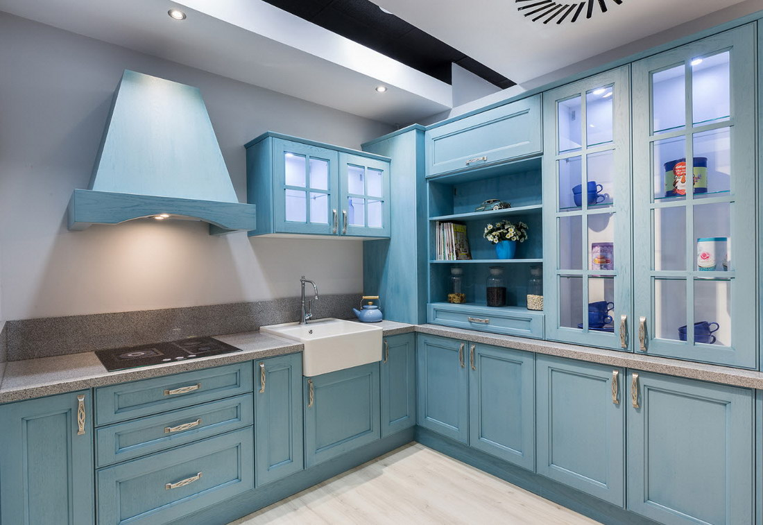 Как правильно оформить кухню в голубом цвете (70+ фото примеров)