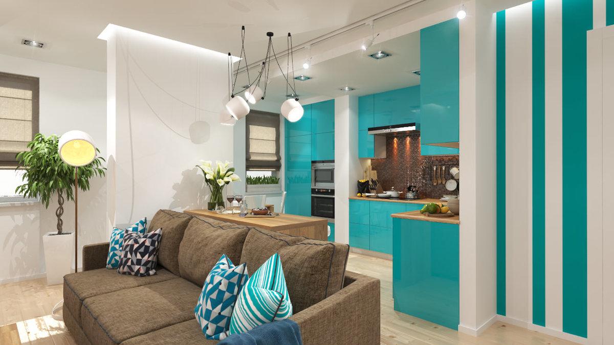 Кухня в бирюзовом цвете: советы по оформлению интерьера и 120+ фото примеров