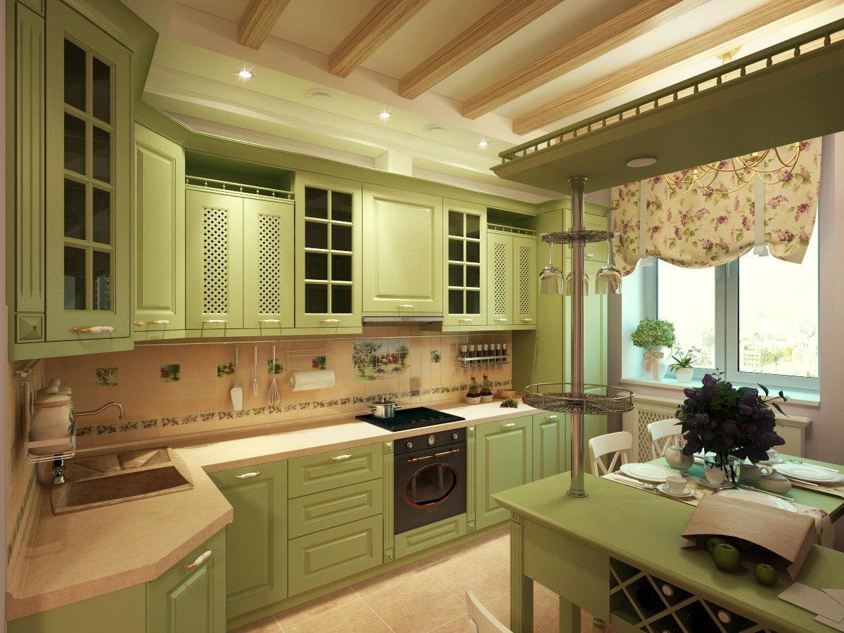 Зеленая кухня эффектный сочный и позитивный интерьер